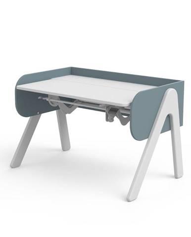 Modro-biely písací stôl z borovicového dreva s nastaviteľnou výškou Flexa Woody