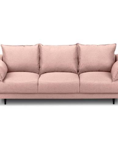 Ružová rozkladacia pohovka s úložným priestorom Mazzini Sofas Ancolie, 215 cm