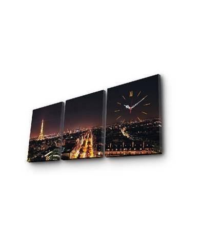 Nástenné obrazové hodiny Paríž, 96×40 cm