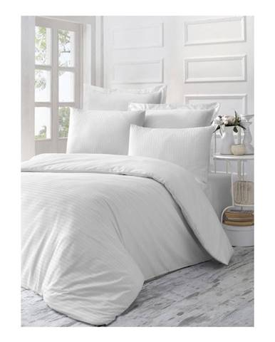 Biele obliečky z bavlneného saténu na jednolôžko Line, 140 × 200 cm