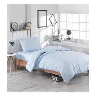 Svetlomodré obliečky s prímesou bavlny na jednolôžko Paint, 140 × 200 cm
