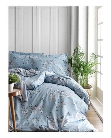 Obliečky s plachtou z ranforce bavlny na dvojlôžko Chicory Blue, 200 x 220 cm
