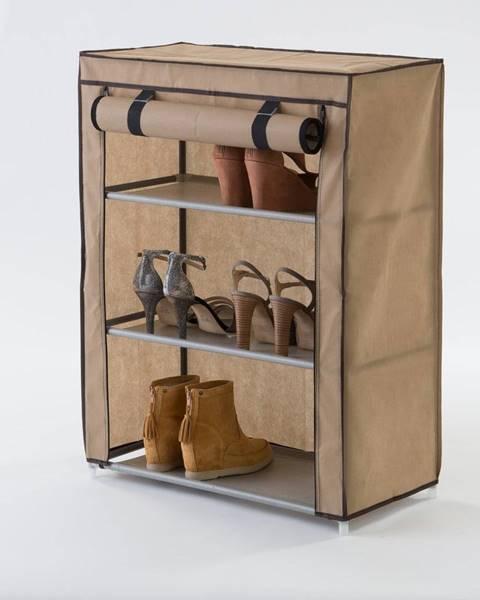 Compactor Béžová textilná trojposchodová skrinka na topánky Compactor Shoes