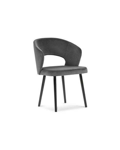 Windsor & Co Sofas Tmavosivá jedálenská stolička so zamatovým poťahom Windsor & Co Sofas Elpis