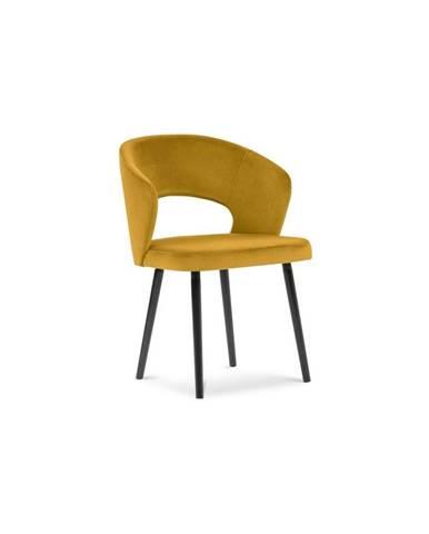 Žltá jedálenská stolička so zamatovým poťahom Windsor & Co Sofas Elpis