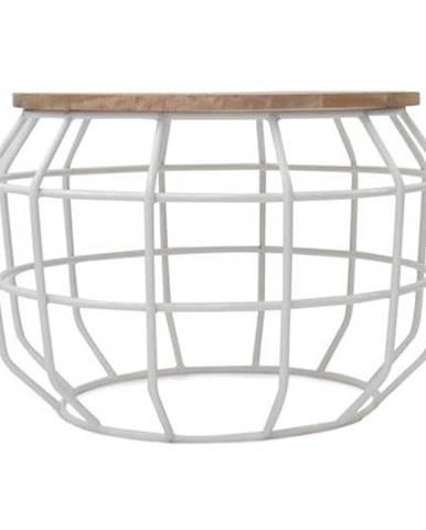 Biely konferenčný stolík s doskou z mangového dreva LABEL51 Pixel,⌀56 cm