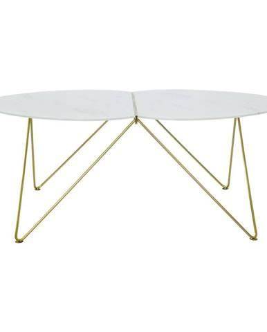 Konferenčný stolík s dekorom mramoru a podnožím v zlatej farbe RGE Ant, dĺžka 116 cm