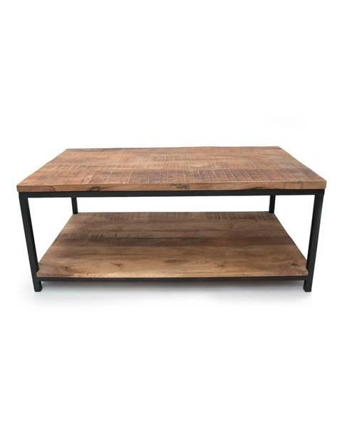 LABEL51 Čierny konferenčný stolík s doskou z mangového dreva LABEL51 Vintage XXL