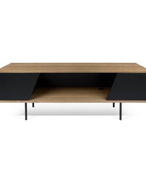 TemaHome TV stolík v dekore orechového dreva s čiernymi detailmi TemaHome Dixie