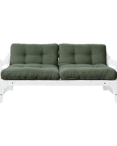 Rozkladacia pohovka so zeleným poťahom Karup Design Step White/Olive Green