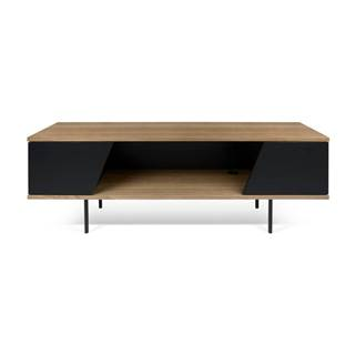 TV stolík v dekore orechového dreva s čiernymi detailmi TemaHome Dixie