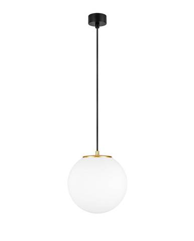 Biele závesné svietidlo s objímkou v zlatej farbe Sotto Luce tsuki M