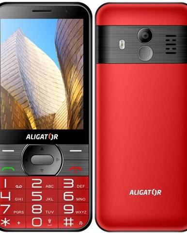 Mobilný telefón Aligator A900 Senior + nabíjecí stojánek červený
