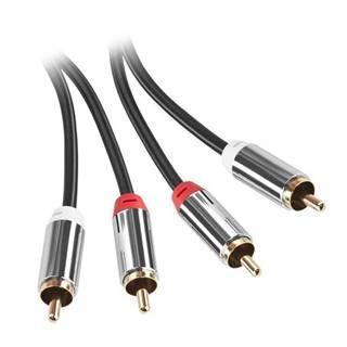 Kábel Gogen 2x Cinch / 2x Cinch, 2m, pozlacené konektory čierny