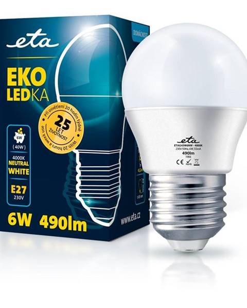 Eta LED žiarovka ETA EKO LEDka mini globe 6W, E27, neutrálna biela