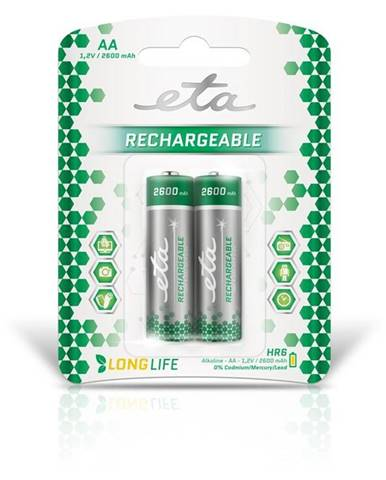 Batéria nabíjacie ETA AA, HR06, 2600mAh, Ni-MH, blistr 2ks