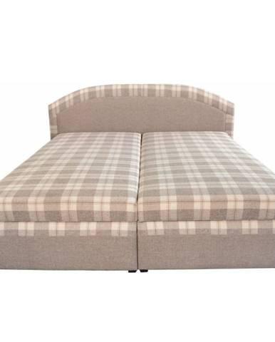 Manželská posteľ béžová/vzor karo 180x200 LUCIA