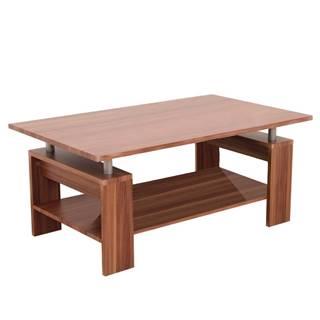 Konferenčný stolík svetlý orech/strieborná ROKO