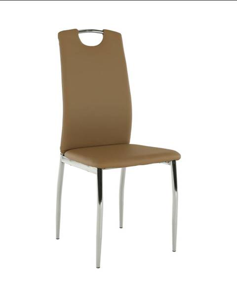 Tempo Kondela Jedálenská stolička ekokoža béžová/chróm ERVINA