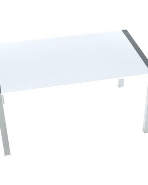 Tempo Kondela Jedálenský stôl rozkladací MDF/kov biela extra vysoký lesk HG/strieborná DARO