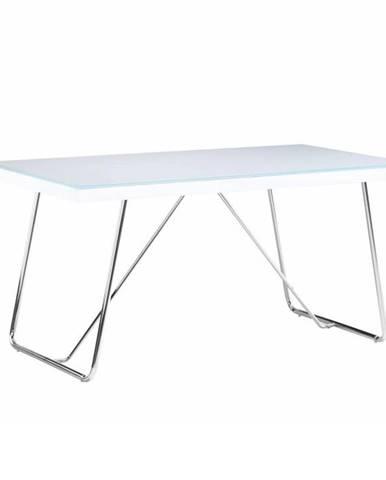 Jedálenský stôl tvrdené sklo/kov biela/chróm AMI