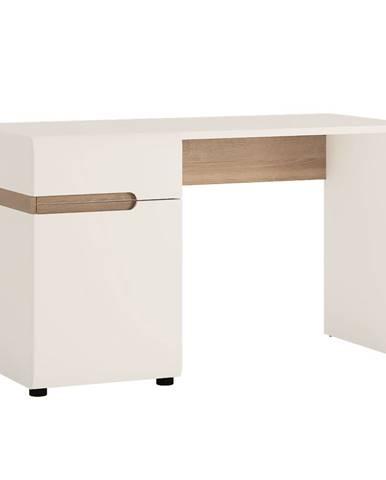 PC stôl biela HG/dub sonoma tmavý truflový LYNATET TYP 80 poškodený tovar
