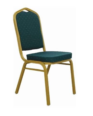 Stohovateľná stolička zelená/matný zlatý rám ZINA 2 NEW