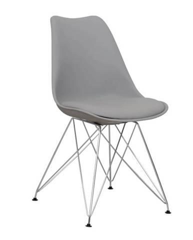 Stolička teplá sivá/chróm METAL NEW