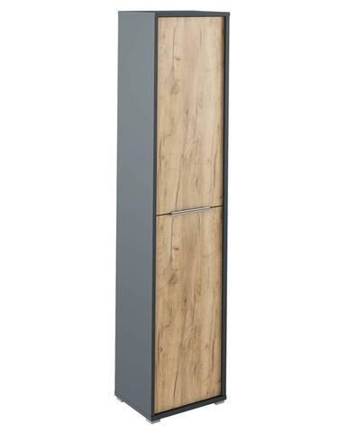Vysoká skriňa s policami grafit/dub artisan RIOMA TYP 06
