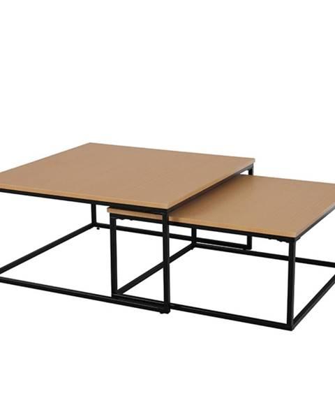 Tempo Kondela Set dvoch konferenčných stolíkov buk/čierna KASTLER TYP 1