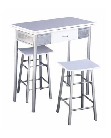 Barový set stôl + 2 stoličky biela/strieborná HOMER