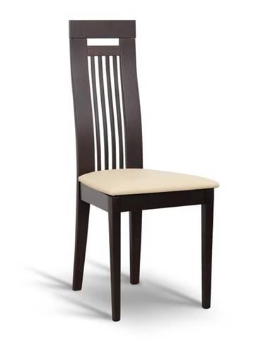 Drevená stolička wenge/ekokoža béžová EDINA poškodený tovar