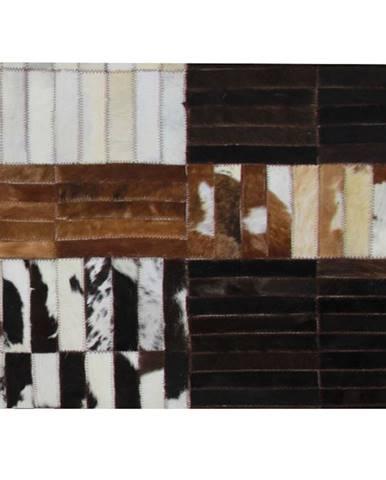 Luxusný kožený koberec čierna/hnedá/biela patchwork 120x180 KOŽA TYP 4