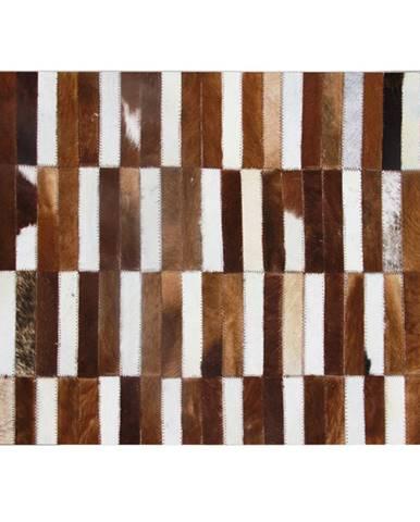Luxusný kožený koberec hnedá/biela patchwork 141x200 KOŽA TYP 5