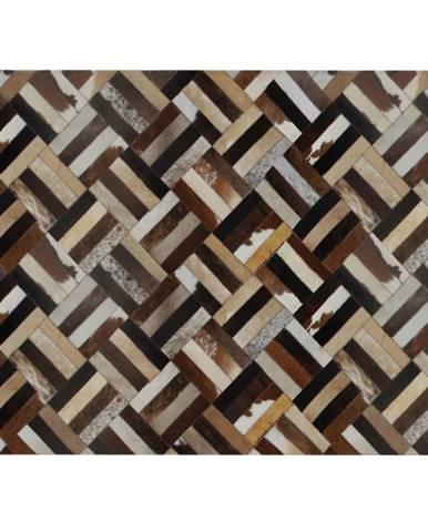 Luxusný kožený koberec hnedá/čierna/béžová patchwork 140x200  KOŽA TYP 2