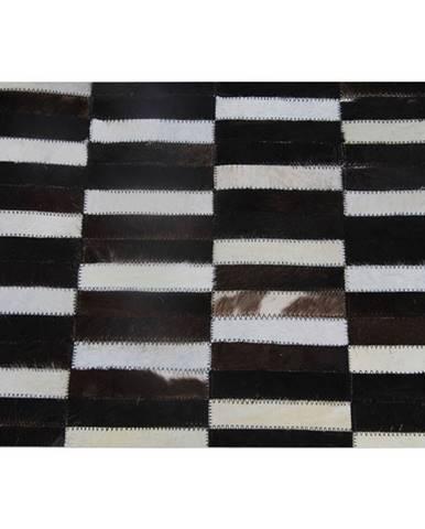 Luxusný kožený koberec  hnedá/čierna/biela patchwork 69x140 KOŽA TYP 6