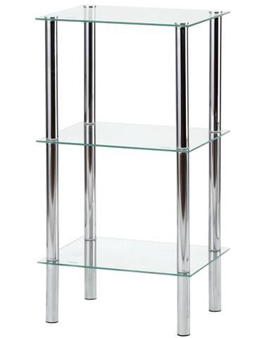 Regál s tromi poličkami chróm / číre sklo FREDDY 2