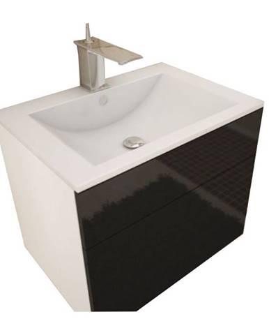 Skrinka pod umývadlo biela/čierna extra vysoký lesk HG MASON BL13