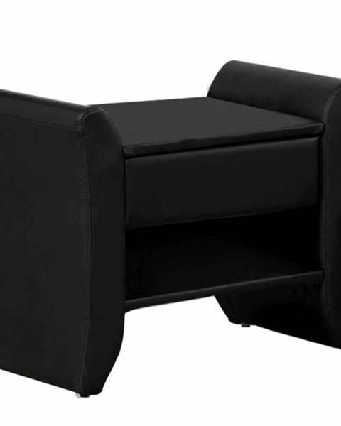 Tempo Kondela Nočný stolík čierna ekokoža BOLTON