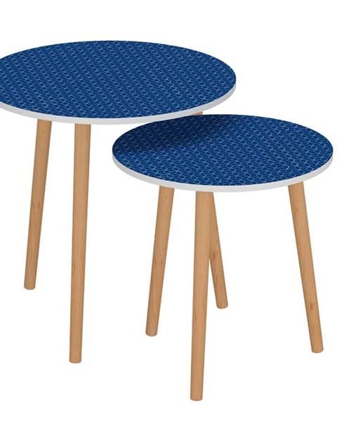 Tempo Kondela Set dvoch príručných stolíkov modrá/biela BRIX