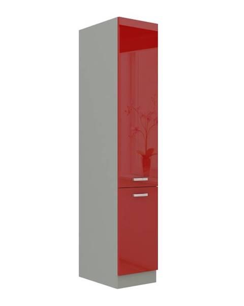Kondela Skrinka potravinová vysoká červený vysoký lesk PRADO 40 DK-210 2F poškodený tovar