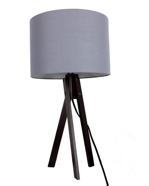 Tempo Kondela Stolná lampa sivá/drevo čierne LILA TYP 5 LS2002