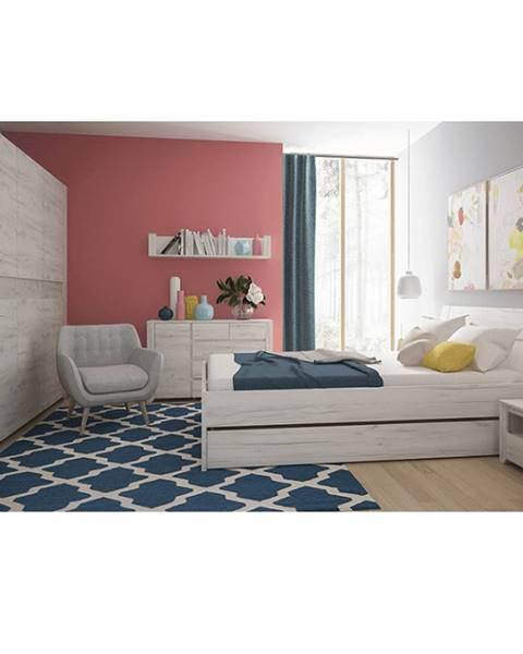 Tempo Kondela Spálňový komplet (skriňa posteľ 160x200 2x nočný stolík) biela craft ANGEL