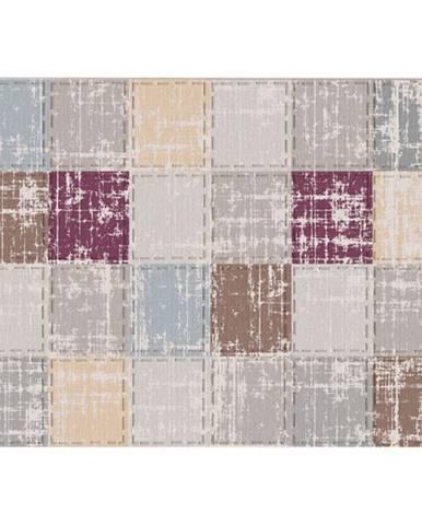 Koberec hnedá/sivá/bordová/vzor štvorec 160x230 FIRBI