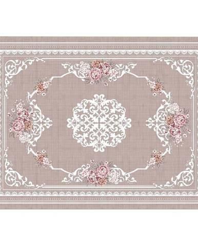 Koberec svetlohnedý/vzor kvety 120x180 SEDEF