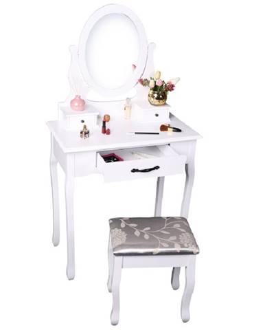 Toaletný stolík s taburetom biela/strieborná LINET NEW