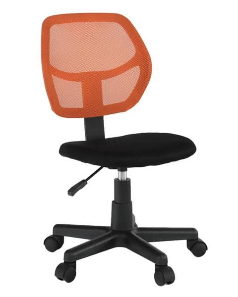 Tempo Kondela Otočná stolička oranžová/čierna MESH