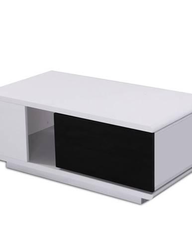 Konferenčný stolík biela/čierna extra vysoký lesk DEMBA poškodený tovar