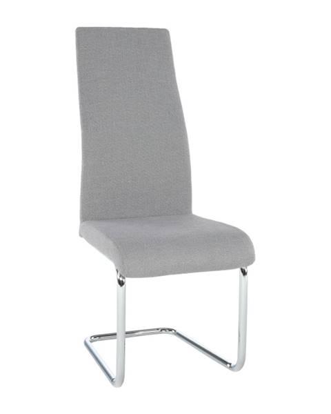 Tempo Kondela Jedálenská stolička látka svetlosivá/chróm AMINA poškodený tovar