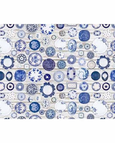Koberec modrá/krémová 80x200 PARLIN
